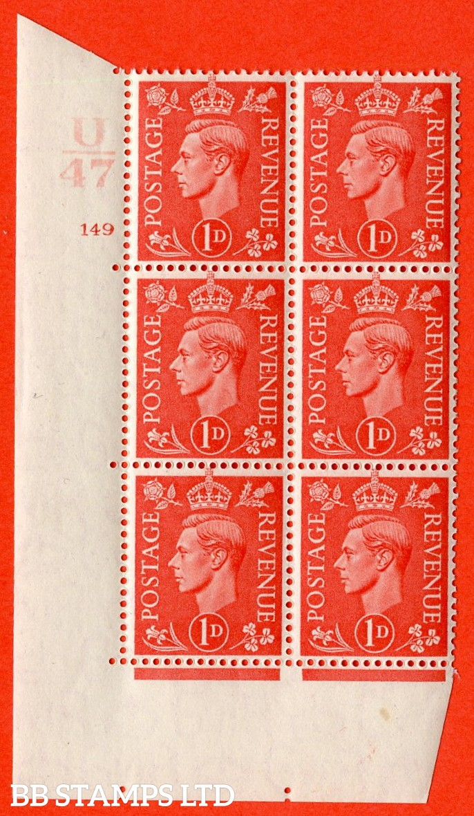 "SG. 486. Q5. 1d Pale scarlet. A superb UNMOUNTED MINT ""  Control U47 cylinder 149 no dot "" control block of 6 with perf type 5 E/I."