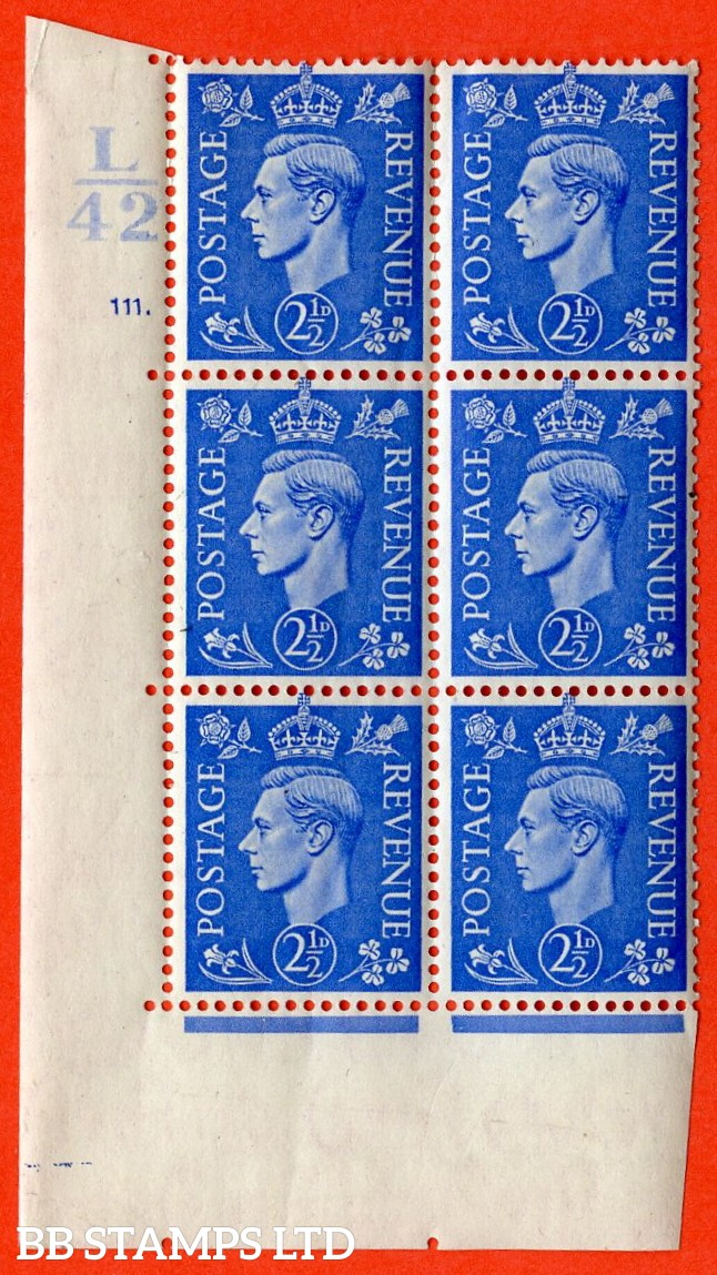 "SG. 489. Q14. 2½d Light ultramarine. A superb UNMOUNTED MINT "" Control L42 cylinder 111 dot "" control block of 6 with perf type 5 E/I."