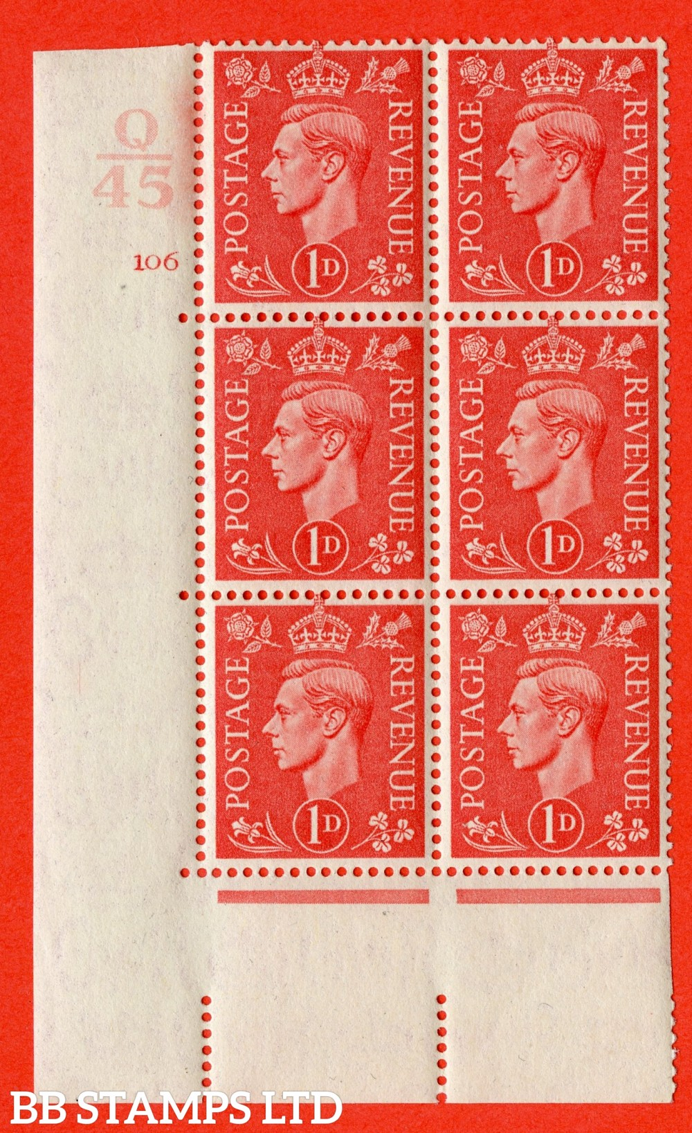 "SG. 486. Q5. 1d Pale scarlet. A fine lightly mounted mint "" Control Q45 cylinder 106 no dot "" control block of 6 with perf type 5 E/I."