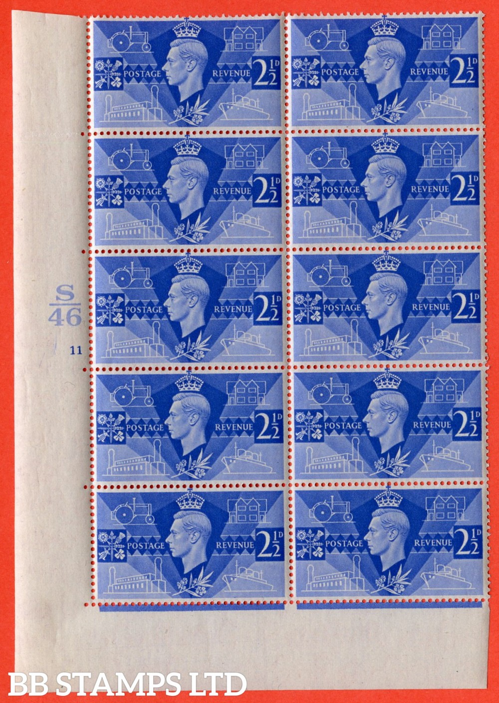"""SG. 491a. QCom8 a. 2½d ultramarine. A very UNMOUNTED MINT Control S46 cylinder 11 no dot cylinder block of 10 perf type 5 E/I. showing the listed """" Extra port - hole aft. Row 16/1 """" variety."""