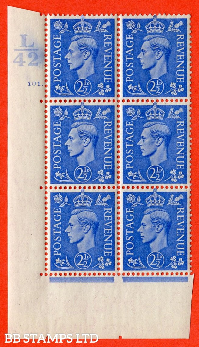 """SG. 489. Q14. 2½d Light ultramarine. A  superb UNMOUNTED MINT """" Control L42 cylinder 101 dot """" control block of 6 with perf type 5 E/I."""