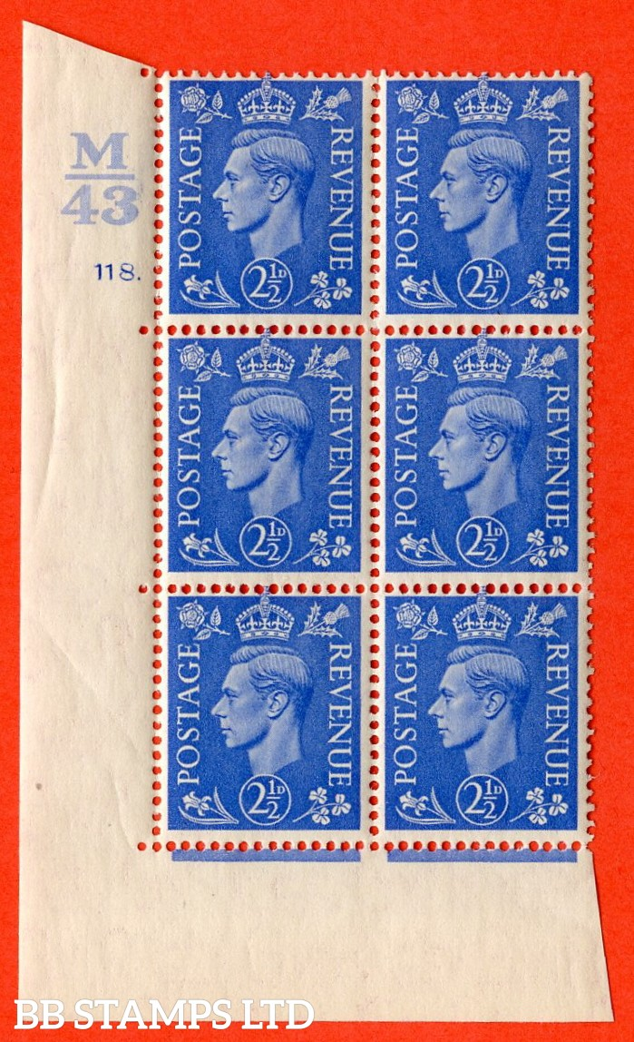 "SG. 489. Q14. 2½d Light ultramarine. A superb UNMOUNTED MINT ""  Control M43 cylinder 118 dot "" control block of 6 with perf type 5 E/I."