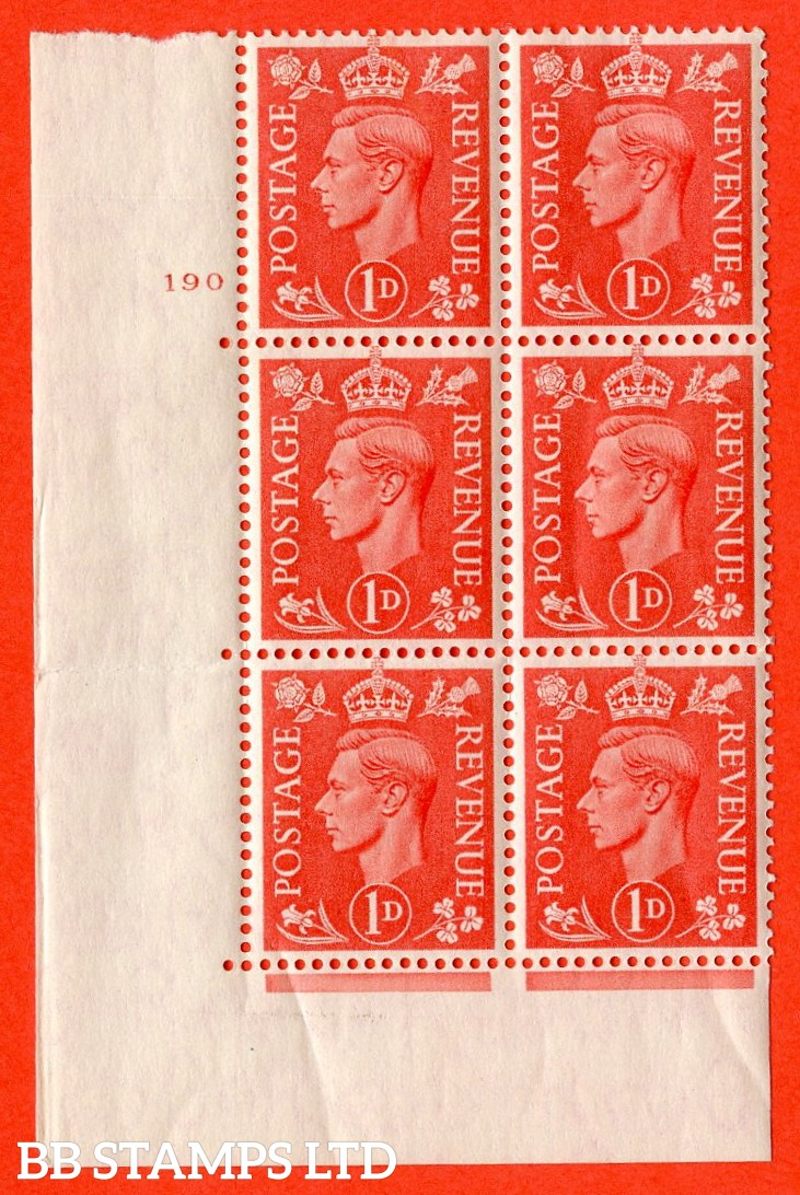 "SG. 486. Q5. 1d Pale scarlet. A Superb UNMOUNTED MINT "" No Control cylinder 190 no dot "" control block of 6 with perf type 5 E/I."