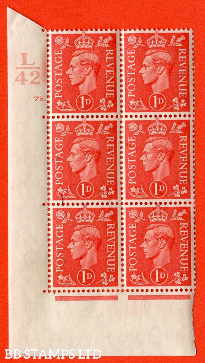"SG. 486. Q5. 1d Pale scarlet. A superb UNMOUNTED MINT "" Control L42 cylinder 78 dot "" control block of 6 with perf type 5 E/I."
