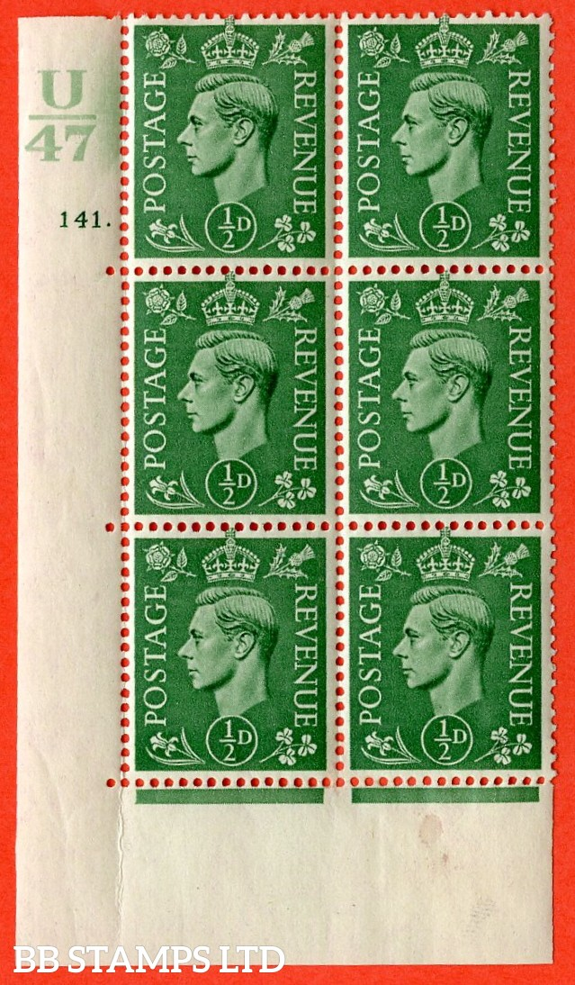 "SG. 485. Q2. ½d Pale Green. A very fine lightly mounted mint "" Control U47 cylinder 141 dot "" block of 6 with perf type 5 E/I with marginal rule."