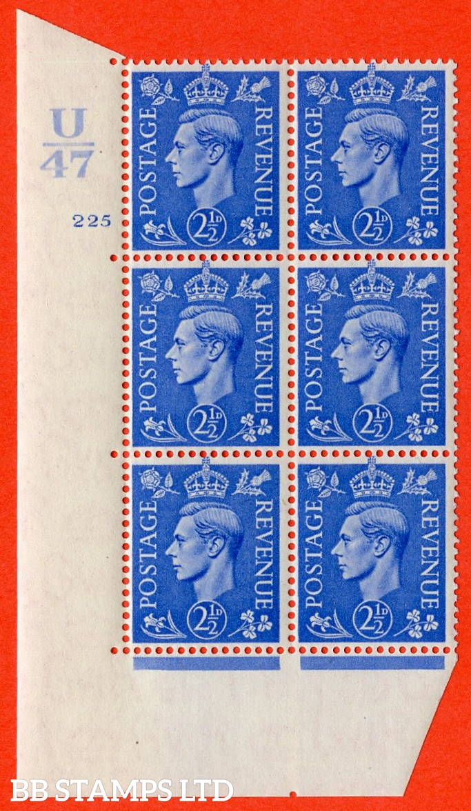 "SG. 489. Q14. 2½d Light ultramarine. A superb UNMOUNTED MINT ""  Control U47 cylinder 225 no dot "" control block of 6 with perf type 5 E/I."