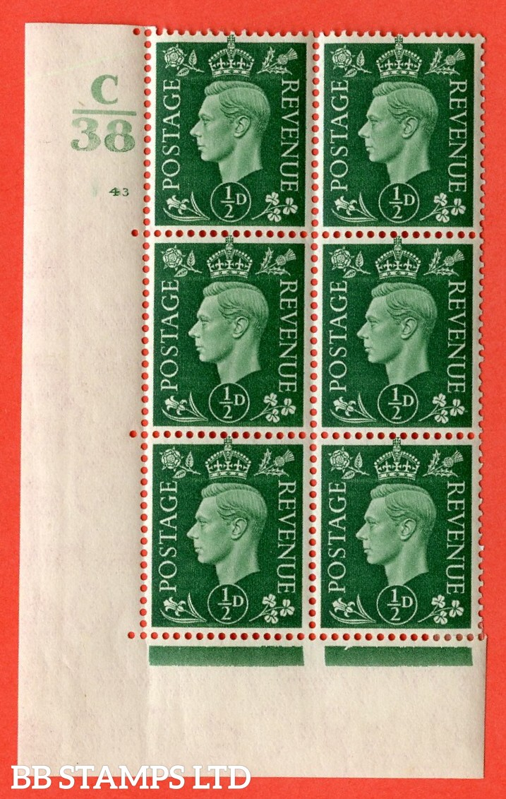 "SG. 462. Q1. ½d Green. A very fine lightly mounted mint "" Control C38 cylinder 43 (ii) no dot "" block of 6 with perf type 5 E/I with marginal rule."