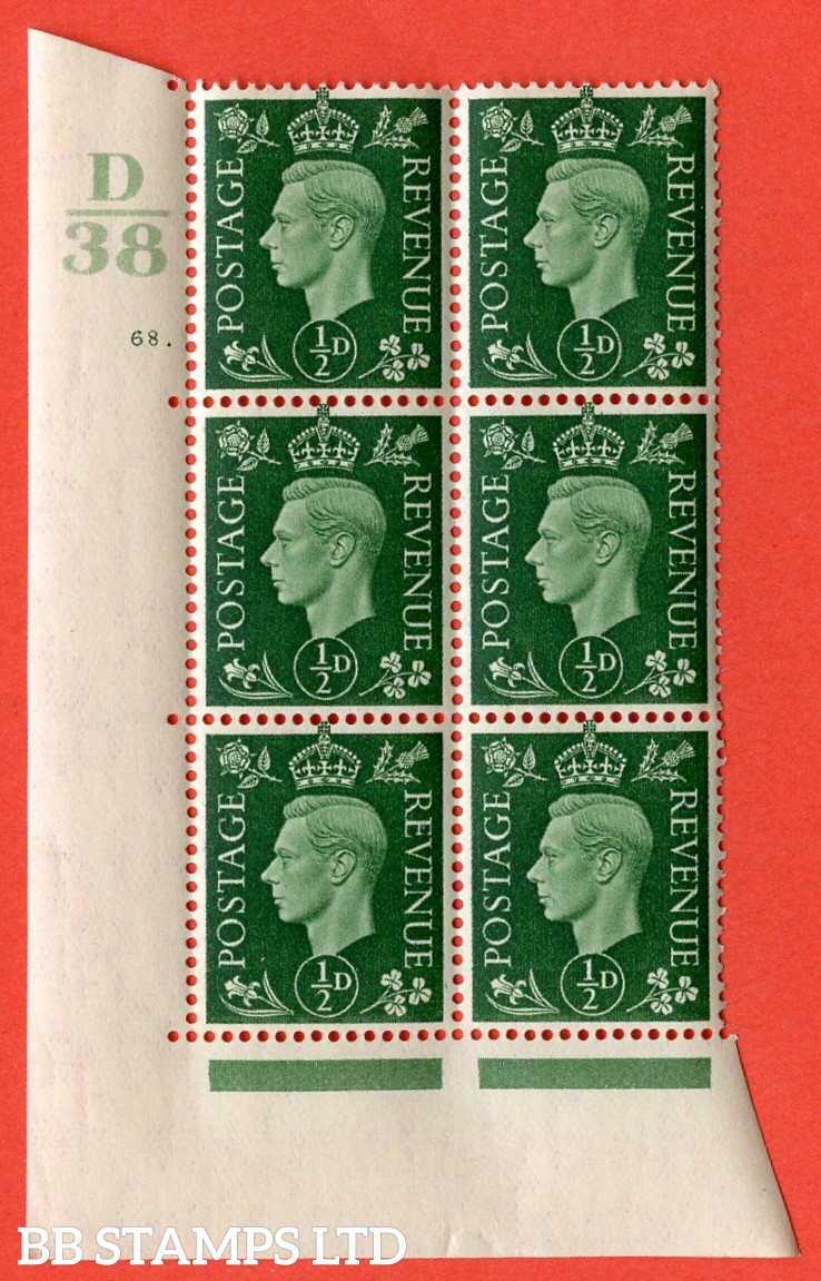 "SG. 462. Q1. ½d Green. A superb UNMOUNTED MINT "" Control D38 cylinder 68 dot "" block of 6 with perf type 5 E/I with marginal rule."