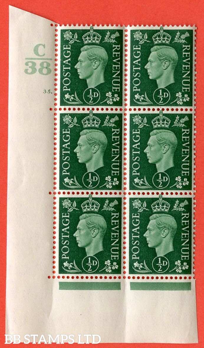 "SG. 462. Q1. ½d Green. A superb UNMOUNTED MINT "" Control C38 cylinder 35 dot "" block of 6 with perf type 5 E/I with marginal rule."