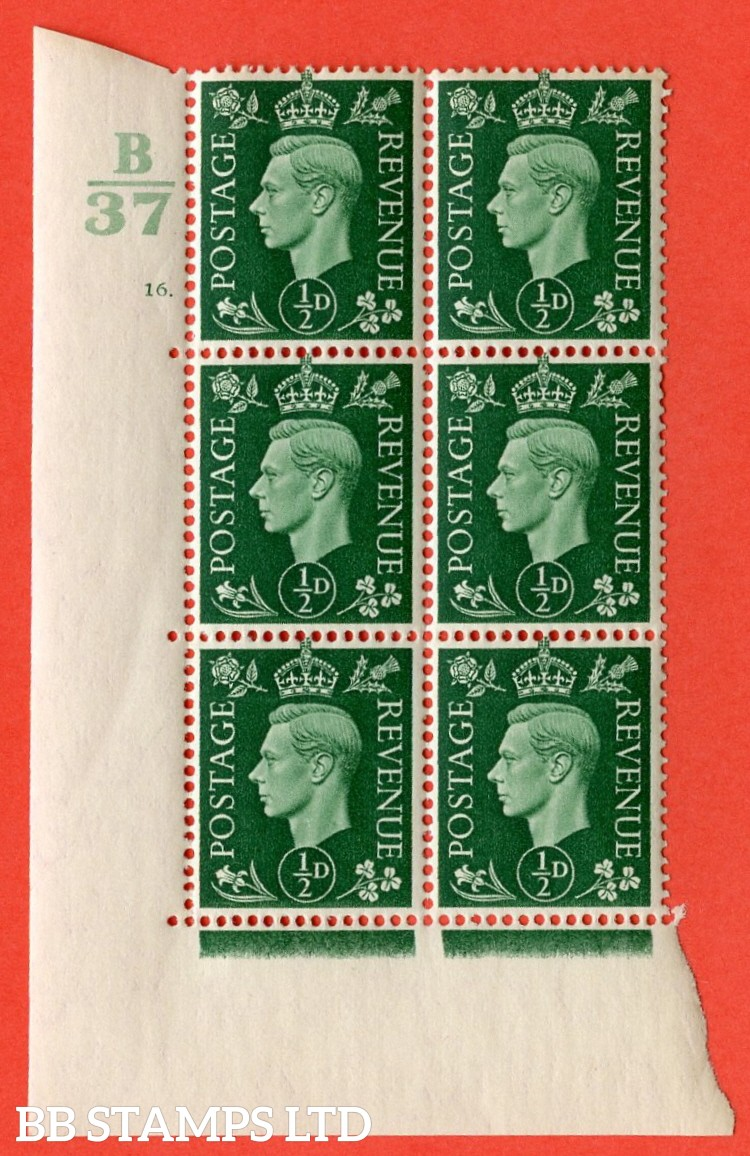 "SG. 462. Q1. ½d Green. A superb UNMOUNTED MINT"" Control B37 cylinder 16 dot "" block of 6 with perf type 5 E/I with marginal rule."