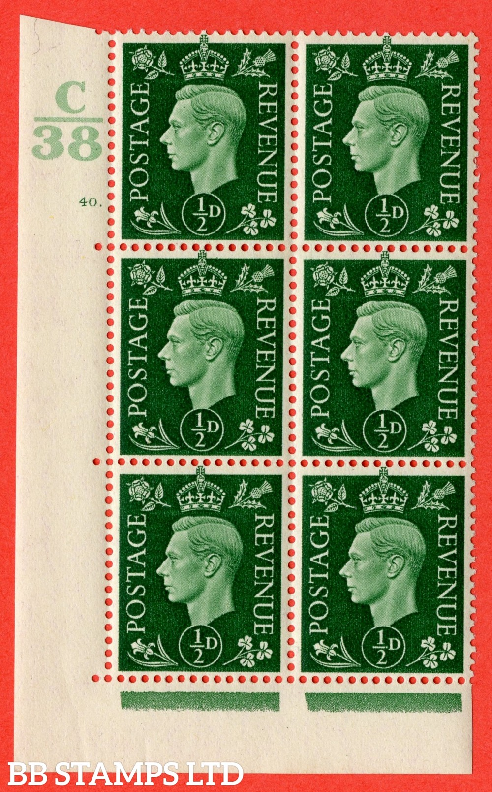 "SG. 462. Q1. ½d Green. A superb UNMOUNTED MINT "" Control C38 cylinder 40 dot "" block of 6 with perf type 5 E/I with marginal rule."