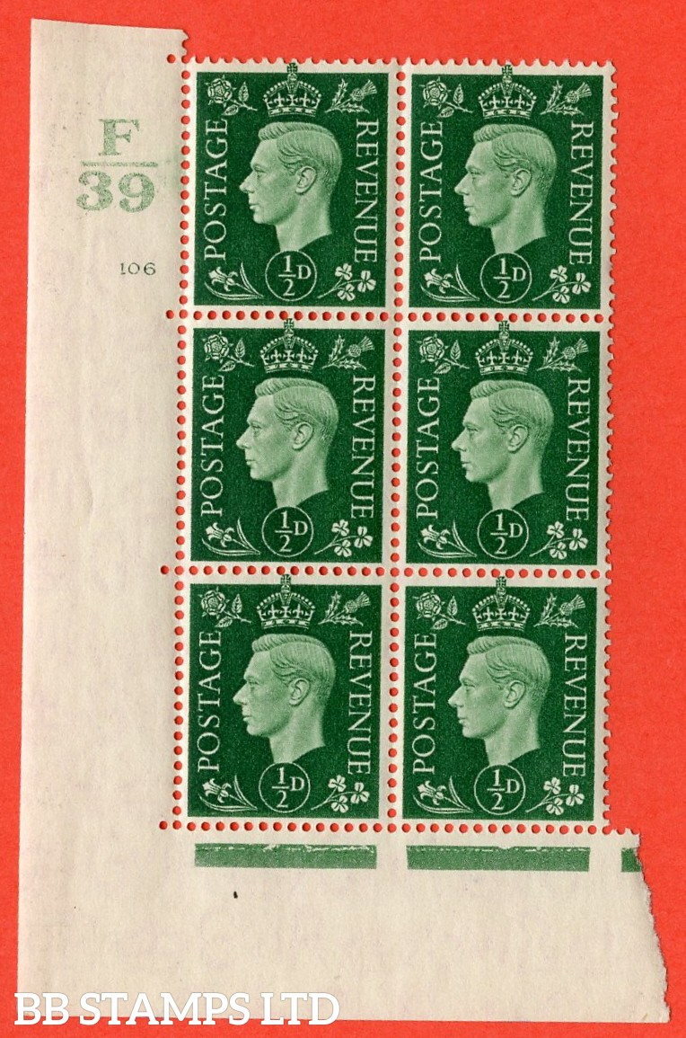 "SG. 462. Q1. ½d Green. A superb UNMOUNTED MINT"" Control F39 cylinder 106 (ii) dot "" block of 6 with perf type 5 E/I with marginal rule."