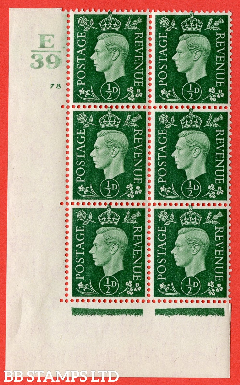 "SG. 462. Q1. ½d Green. A fine lightly mounted mint "" Control E39 cylinder 78 no dot "" block of 6 with perf type 5 E/I with marginal rule."