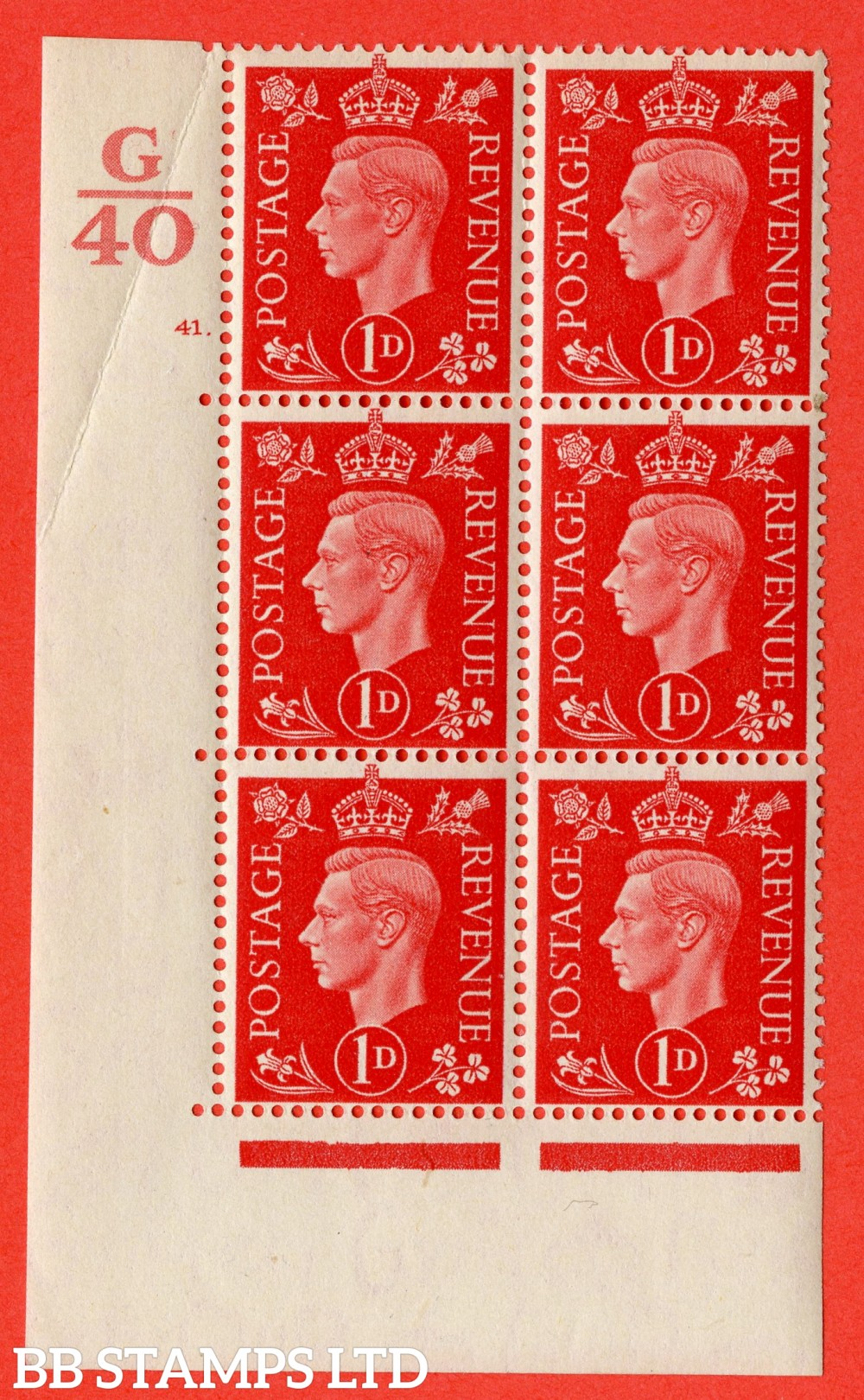 "SG. 463. Q4. 1d Scarlet. A superb UNMOUNTED MINT "" Control G40 cylinder 41 dot "" block of 6 with perf type 5 E/I with marginal rule. Crease in margin."