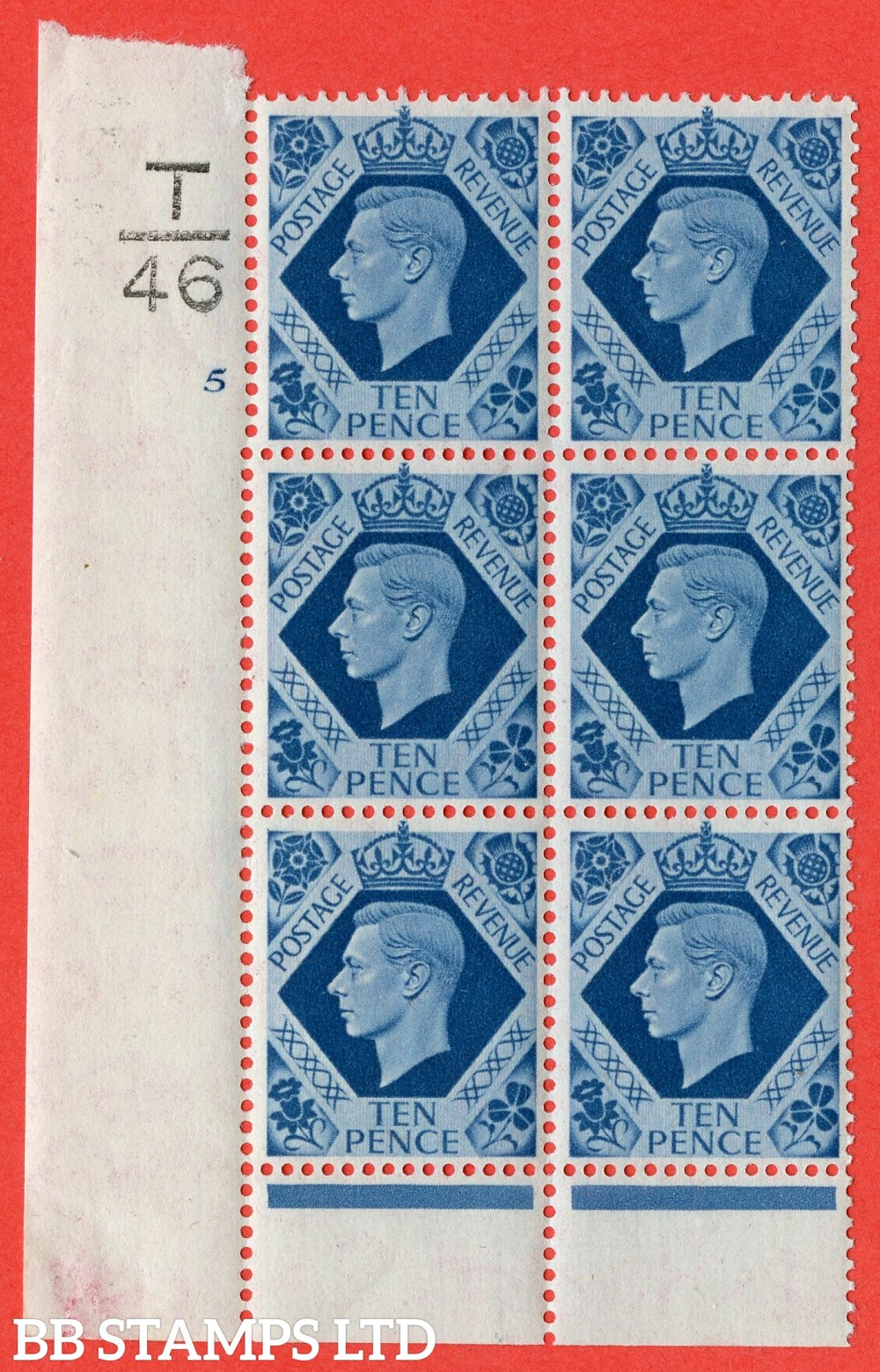 "SG. 474. Q26. 10d Turquoise-Blue. A fine mounted mint "" Control  T46 cylinder 5 no dot "" control block of 6 with perf type 6 I/P."