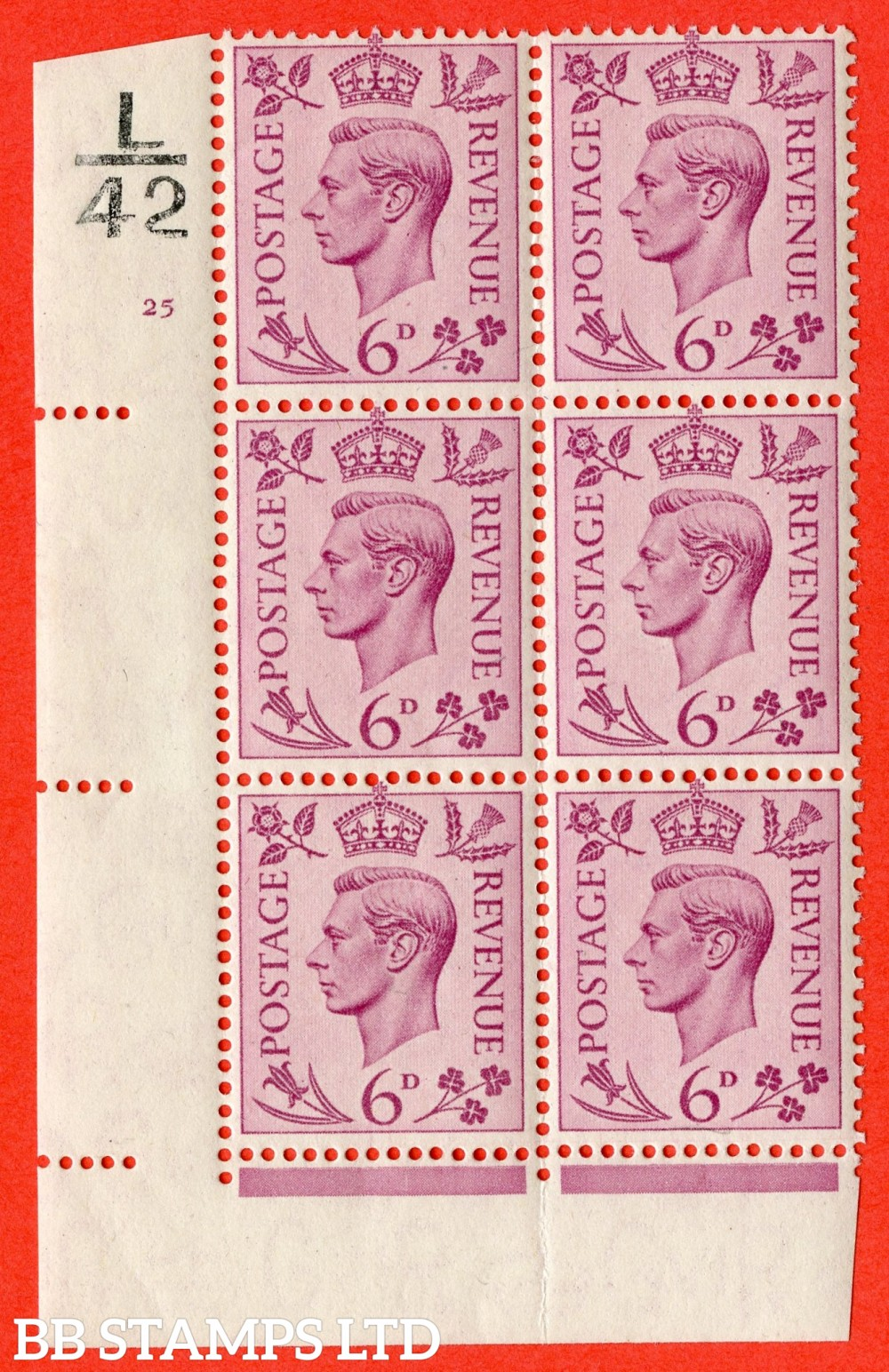 """SG. 470. Q22. 6d Purple. A fine lightly mounted mint """" Control L42 cylinder 25 no dot """" control block of 6 with perf type 2 I/E."""