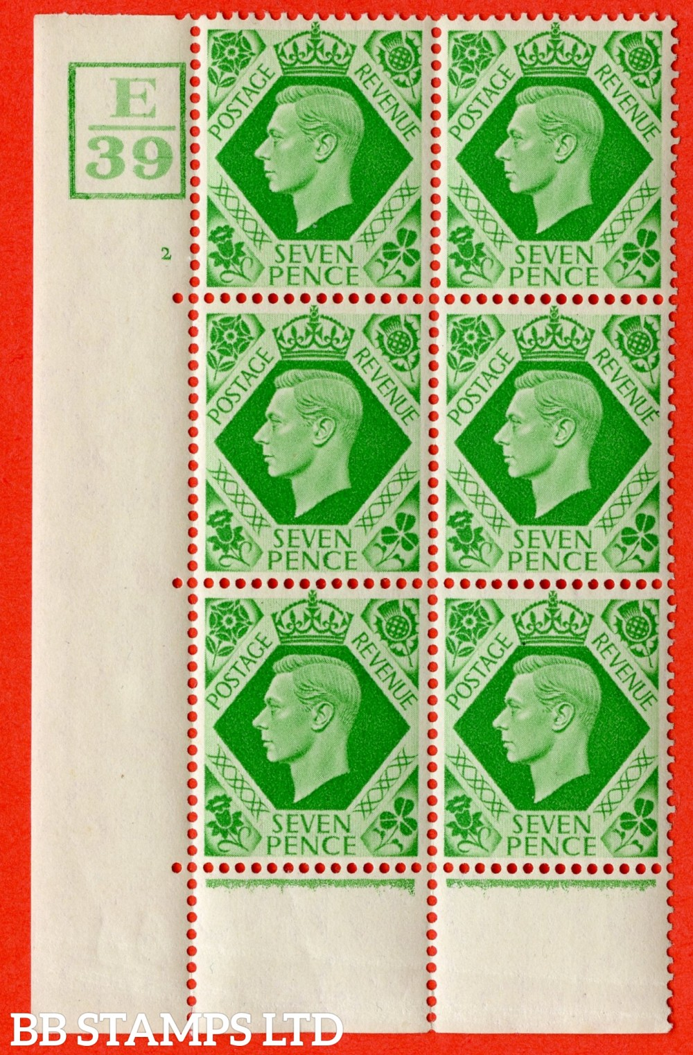 """SG. 471. Q23. 7d Emerald-Green. A fine lightly mounted mint """" Control E39 Box cylinder 2 no dot """" control block of 6 with perf type 6B E/P."""