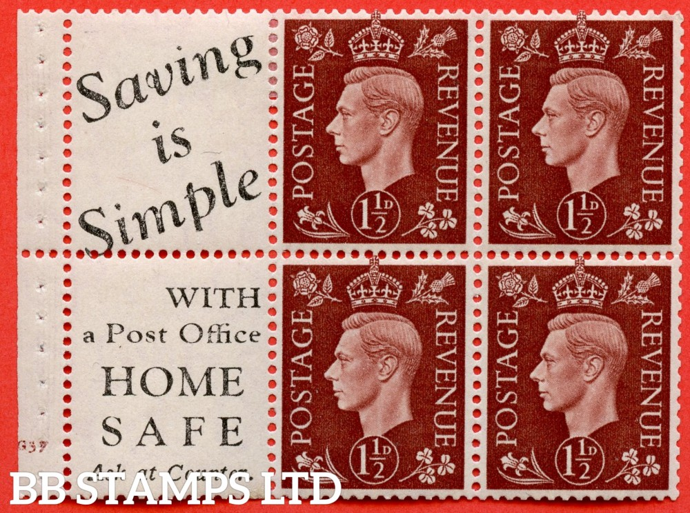 "SG. 464 b. QB23 (10). 1½d Red - Brown.  A fine lightly mounted mint cylinder "" G37  complete booklet pane with selvedge. Perf type B3A(P)"