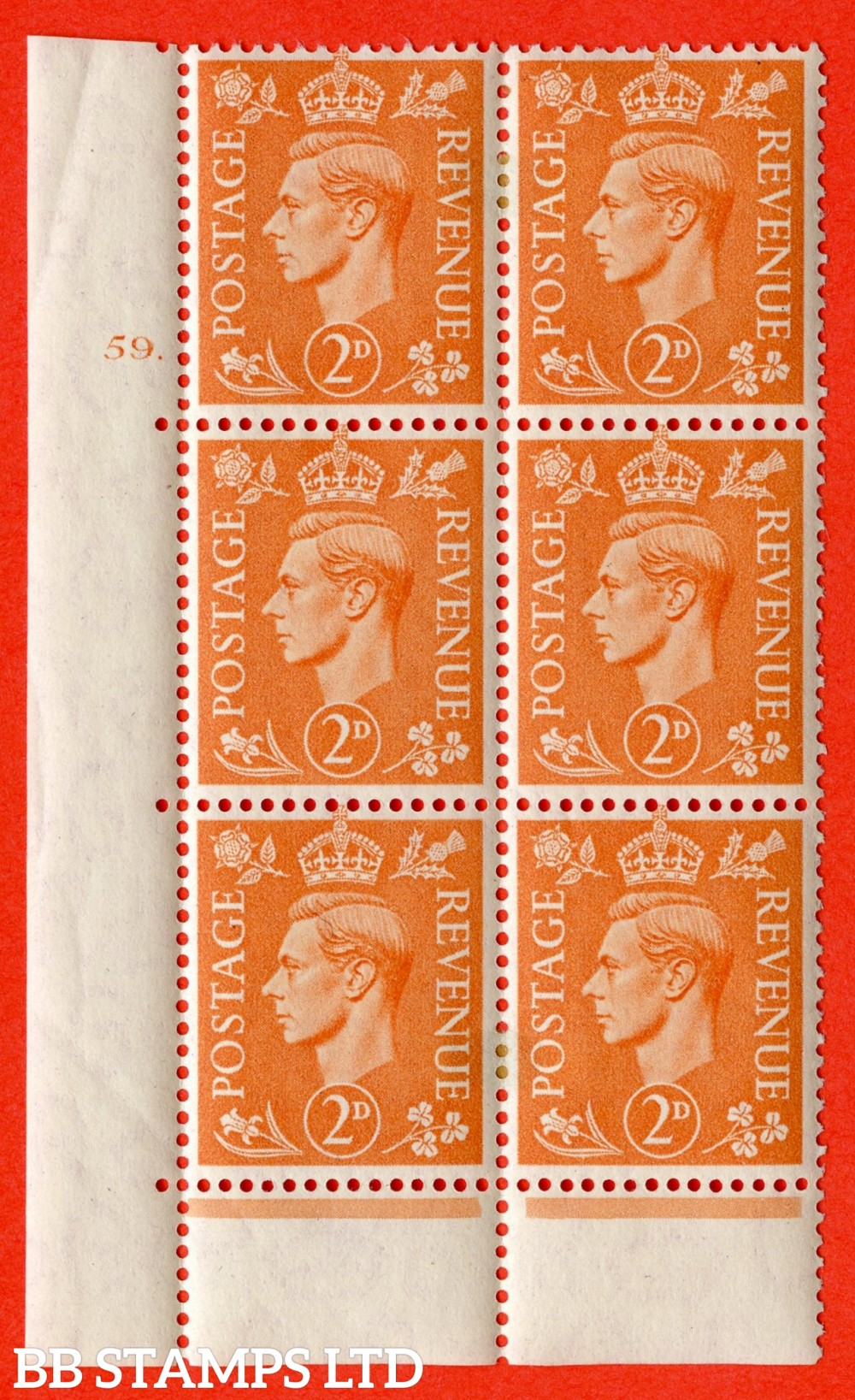 "SG. 488. Q11. 2d Pale Orange. A fine ligthtly mounted mint "" No Control cylinder 59 dot "" control block of 6 with perf type 6B E/P."