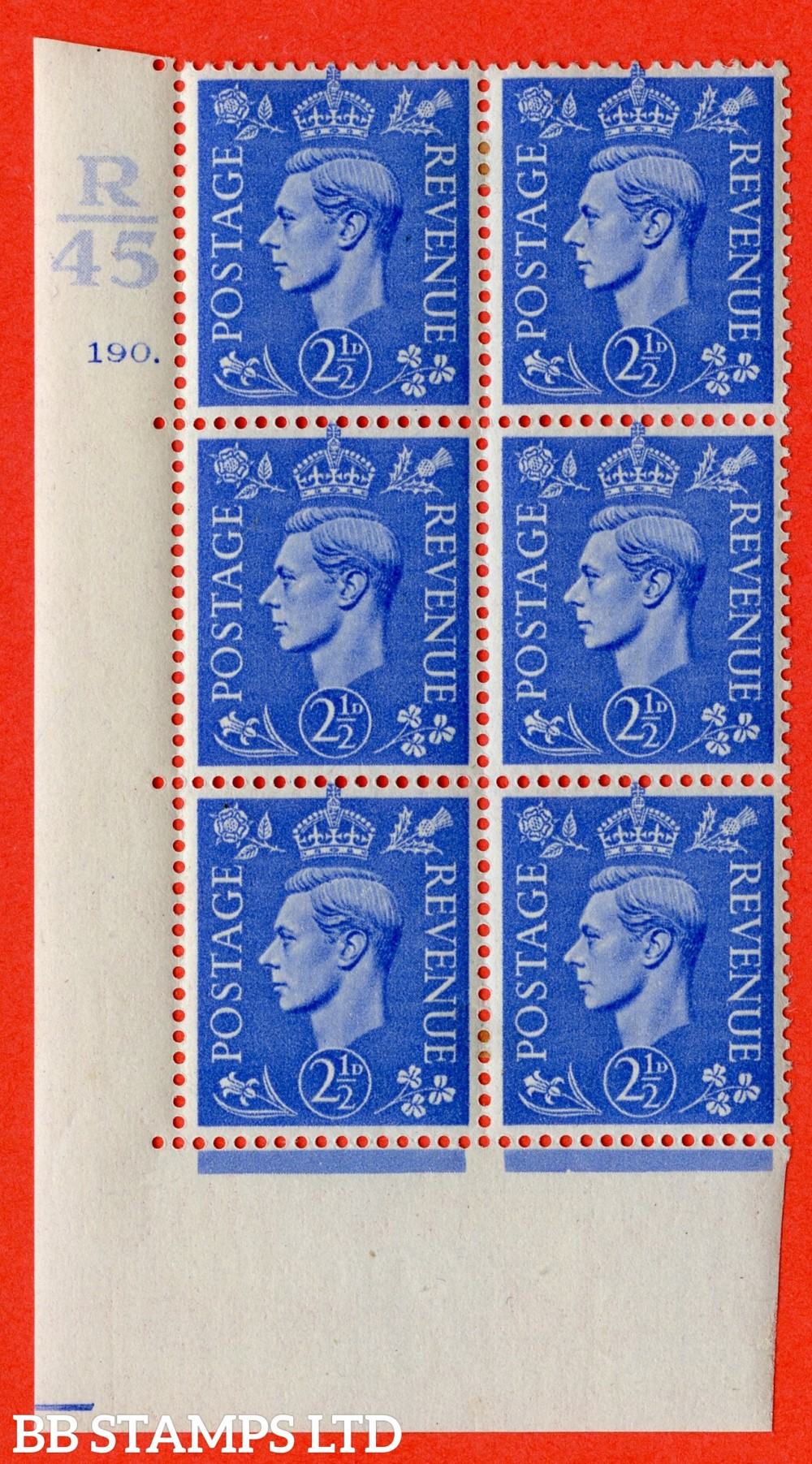 """SG. 489. Q14. 2½d Light ultramarine. A very fine lightly mounted mint """"  Control R45 cylinder 190 dot """" control block of 6 with perf type 5 E/I."""