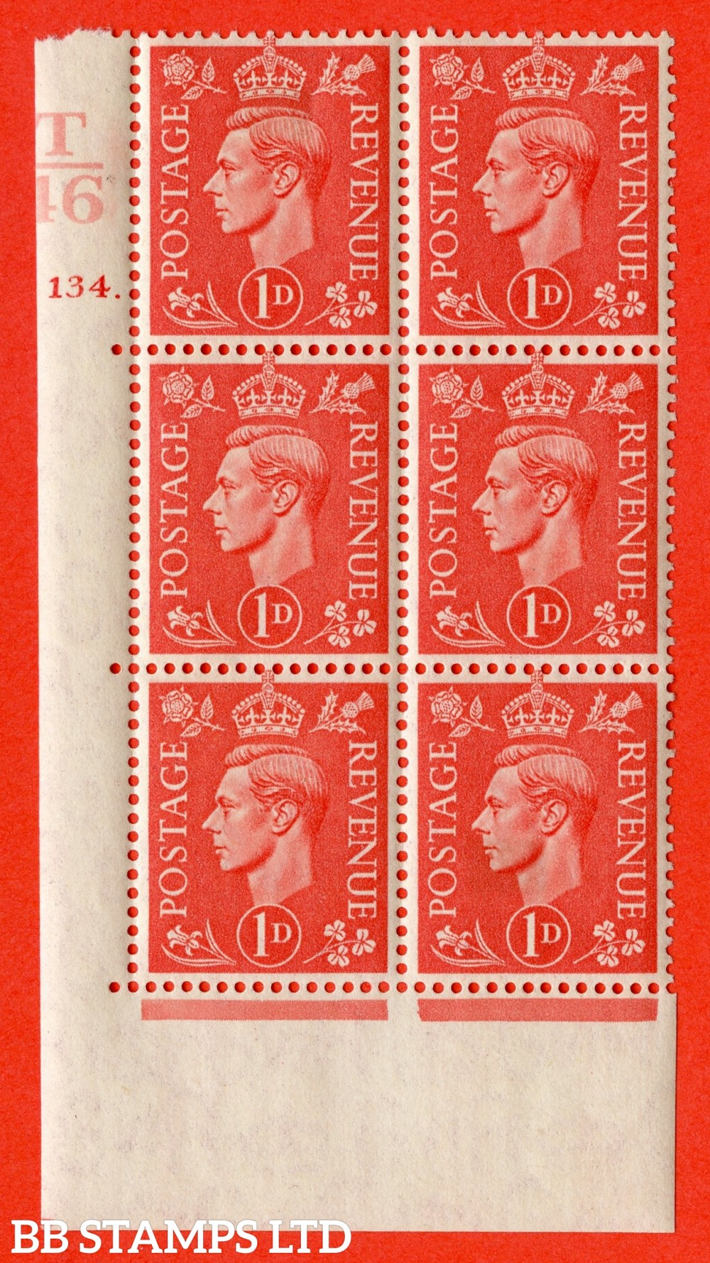 "SG. 486. Q5. 1d Pale scarlet. A fine lightly mounted mint "" Control T46 cylinder 134 dot "" control block of 6 with perf type 5 E/I."
