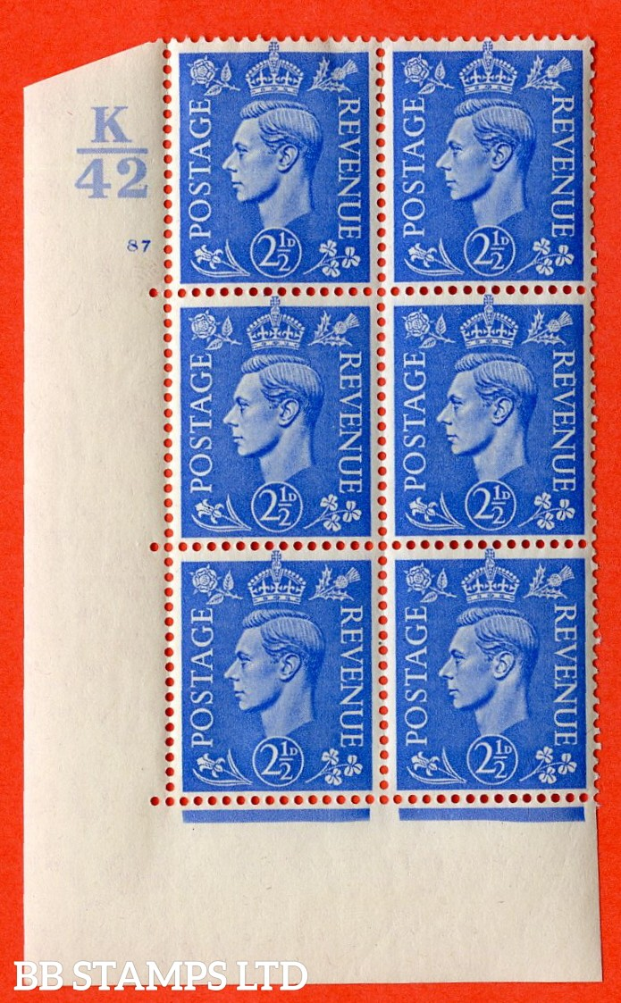 "SG. 489. Q14. 2½d Light ultramarine. A very fine lightly mounted mint ""  Control K42 cylinder 87 no dot "" control block of 6 with perf type 5 E/I."