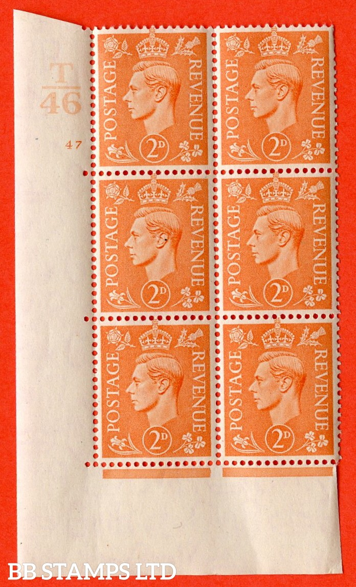 "SG. 488. Q11. 2d Pale Orange. A superb UNMOUNTED MINT. "" Control T46 cylinder 47 no dot "" control block of 6 with perf type 5 E/I."