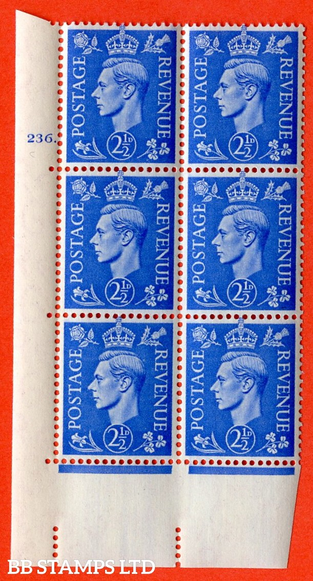 "SG. 489. Q14. 2½d Light ultramarine. A superb UNMOUNTED MINT ""  No Control cylinder 236 dot "" control block of 6 with perf type 5 E/I."