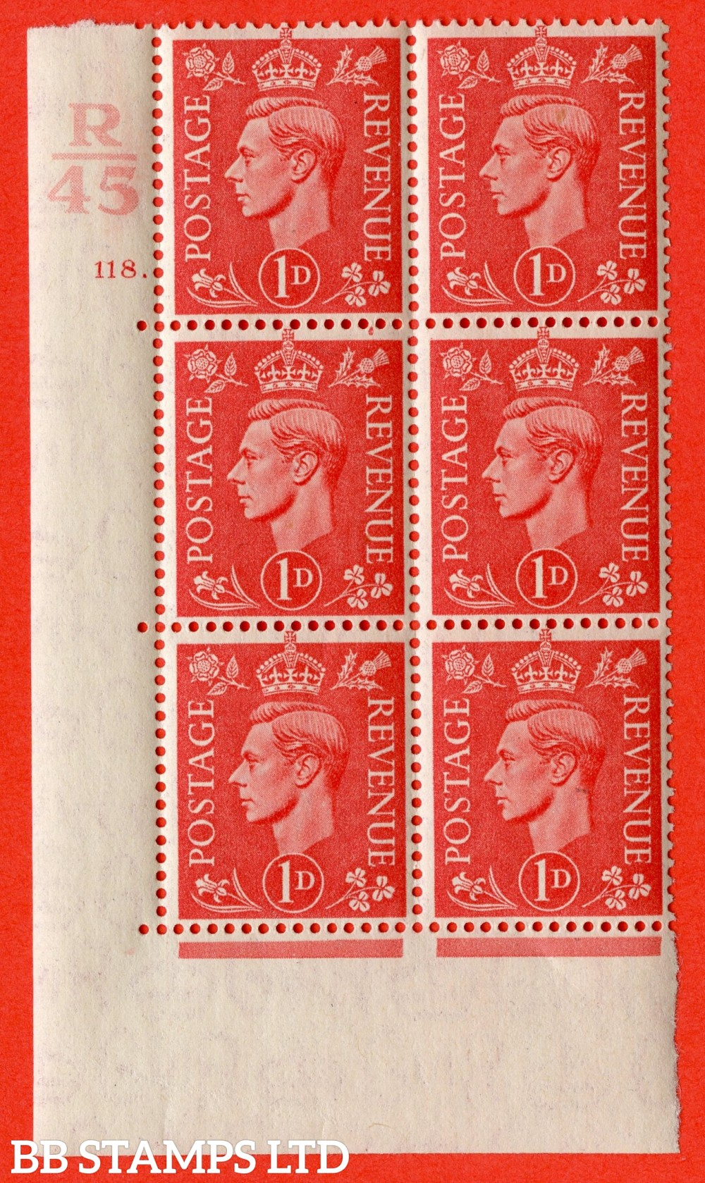 "SG. 486. Q5. 1d Pale scarlet. A superb UNMOUNTED MINT "" Control R45 cylinder 118 dot "" control block of 6 with perf type 5 E/I."