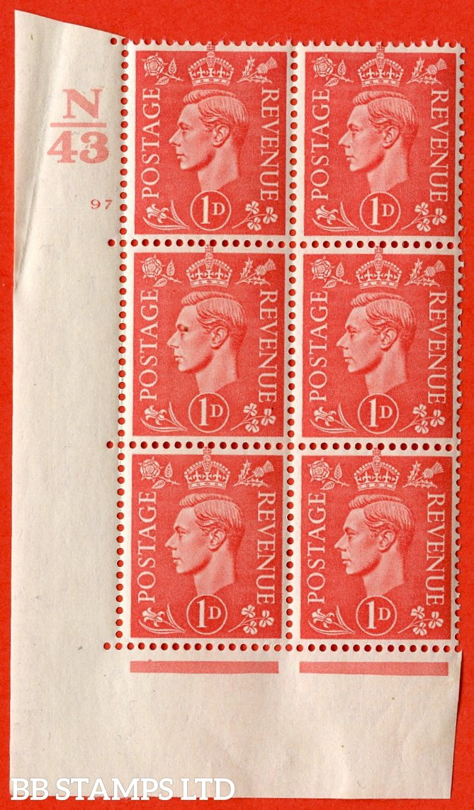 "SG. 486. Q5. 1d Pale scarlet. A very fine lightly mounted mint ""  Control N43 cylinder 97 no dot "" control block of 6 with perf type 5 E/I. Crease in margin."