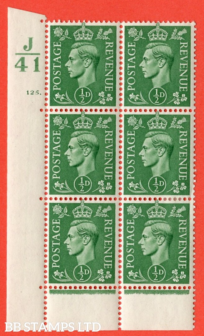 "SG. 485. Q2. ½d Pale Green. A very fine lightly mounted mint "" Control J41 cylinder 125 dot "" block of 6 with perf type 6B E/P with marginal rule."