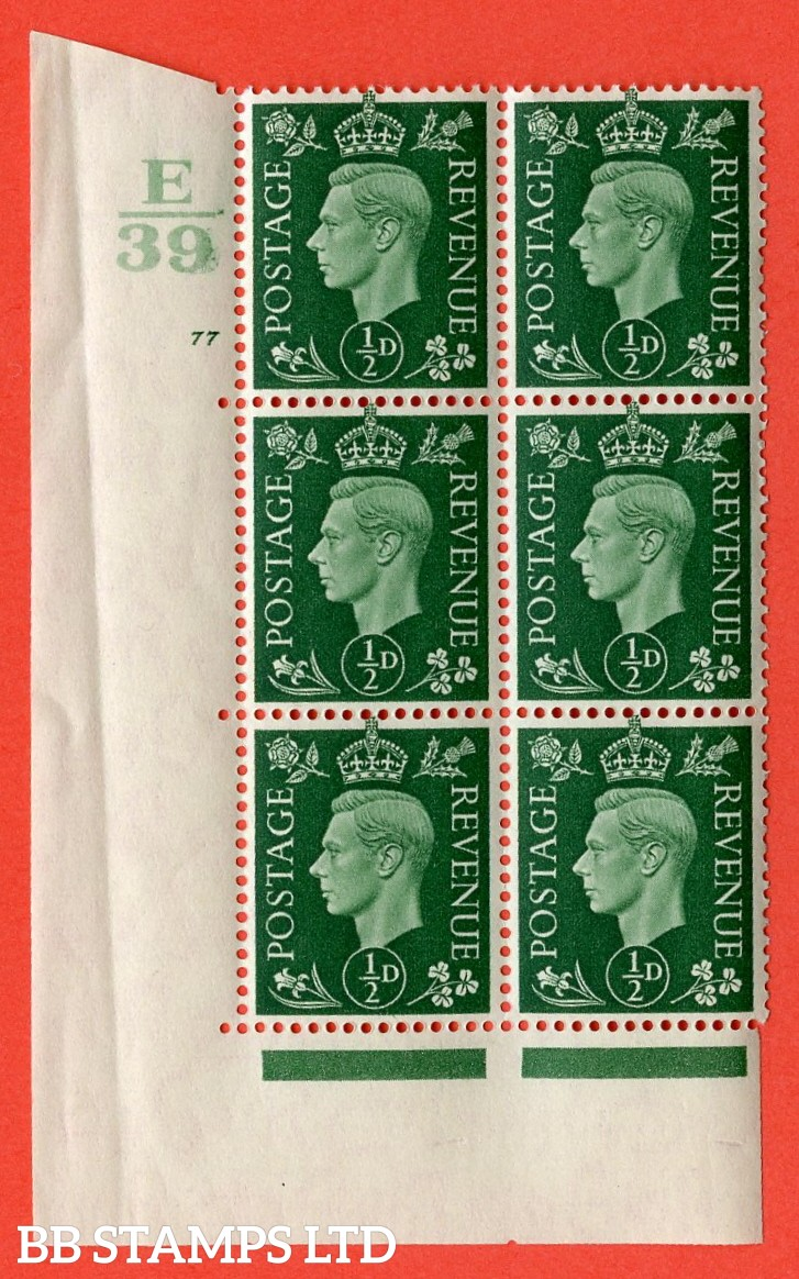 "SG. 462. Q1. ½d Green. A superb UNMOUNTED MINT "" Control E39 cylinder 78 no dot "" block of 6 with perf type 5 E/I with marginal rule. Crease in margin."