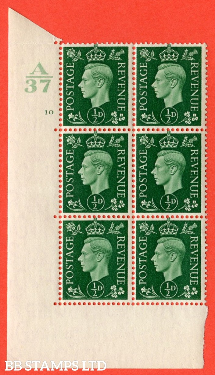 "SG. 462. Q1. ½d Green. A superb UNMOUNTED MINT"" Control A37 cylinder 10 no dot "" block of 6 with perf type 5 E/I without marginal rule."