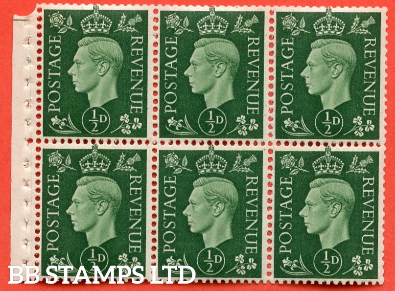 SG. 462. QB1. ½d green. A fine mounted mint booklet pane of 6. Perf type E.