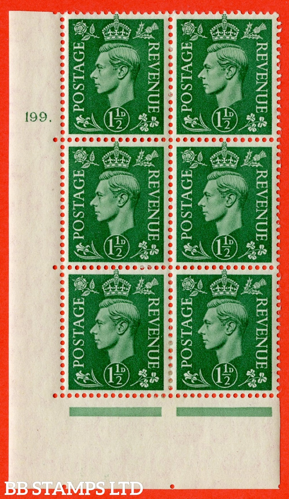 "SG. 505. Q9. 1½d Pale Green. A  very fine lightly mounted mint "" No Control cylinder 199 dot "" control block of 6 with perf type 5 E/I."