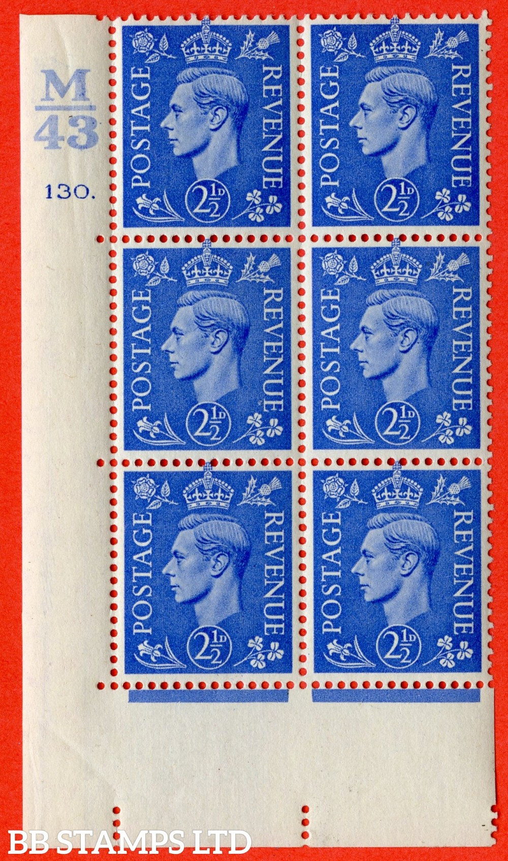 """SG. 489. Q14. 2½d Light ultramarine. A very fine lightly mounted mint """"  Control M43 cylinder 130 dot """" control block of 6 with perf type 5 E/I."""