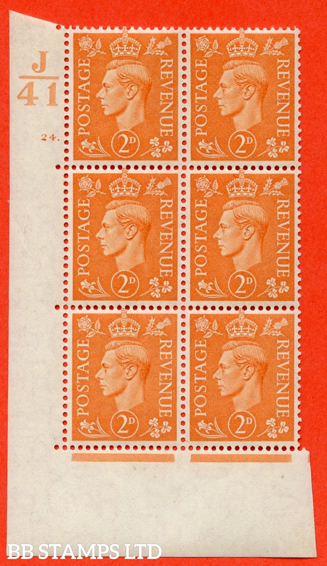 "SG. 488. Q11. 2d Pale Orange. A very fine lightly mounted mint. "" Control J41 cylinder 24 dot "" control block of 6 with perf type 5 E/I."