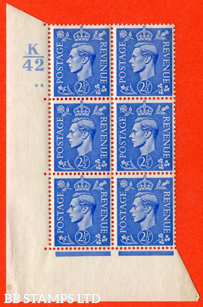 "SG. 489. Q14. 2½d Light ultramarine. A  superb UNMOUNTED MINT "" Control K42 cylinder 84 no dot "" control block of 6 with perf type 5 E/I. Small crease in margin."