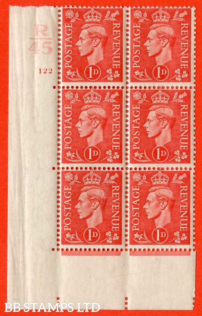 "SG. 486. Q5. 1d Pale scarlet. A superb UNMOUNTED MINT ""  Control R45 cylinder 122 no dot "" control block of 6 with perf type 5 E/I."