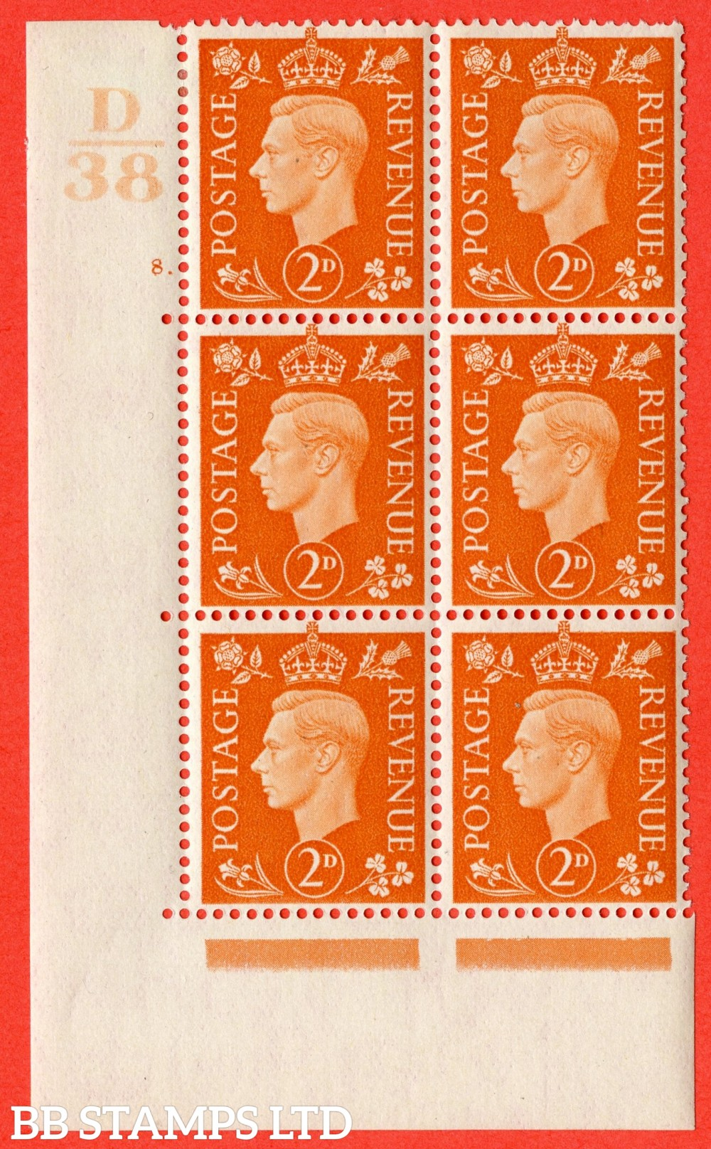 "SG. 465. Q10. 2d Orange. A very fine lightly mounted mint "" Control D38 cylinder 8 dot "" control block of 6 with perf type 5 E/I."