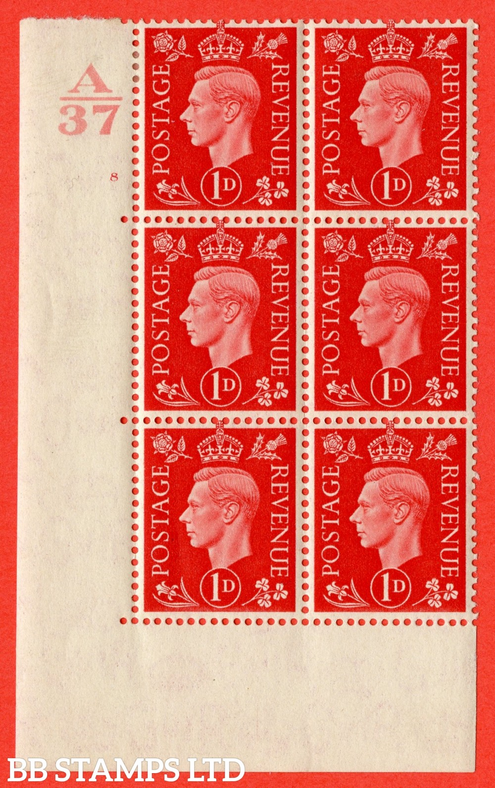 "SG. 463. Q4. 1d Scarlet. A very fine lightly mounted mint "" Control A37 cylinder 8 no dot "" block of 6 with perf type 5 E/I without marginal rule."