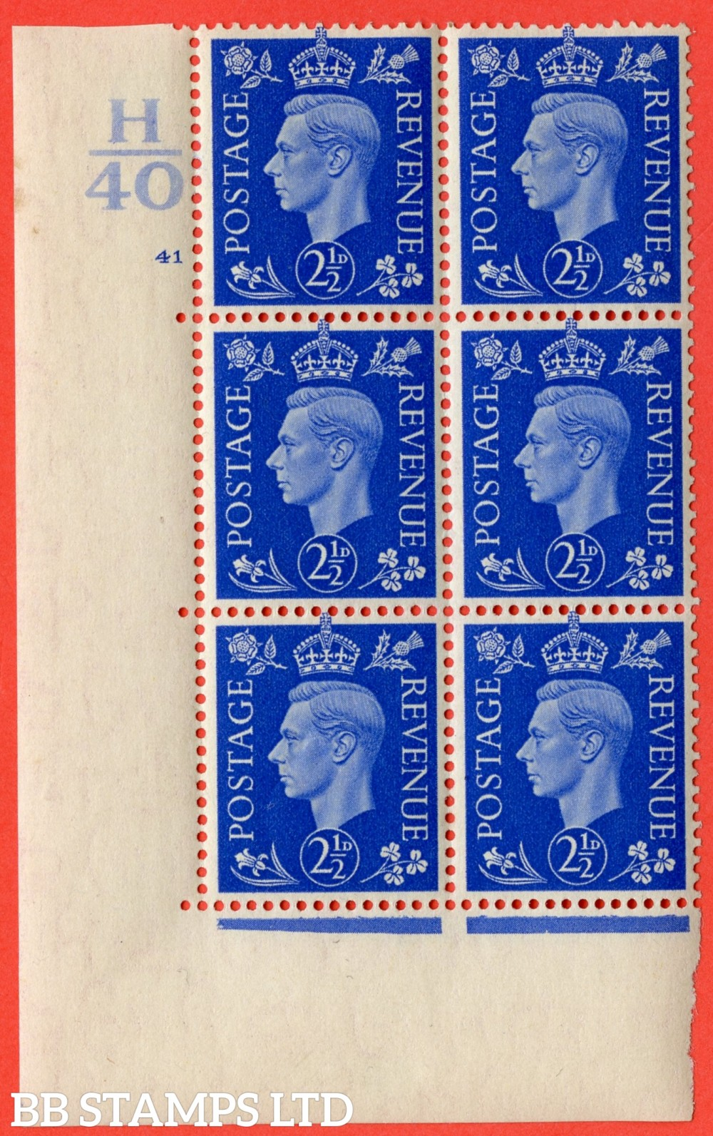 """SG. 466. Q13. 2½d Ultramarine.  A very fine lightly mounted mint """" Control H40 cylinder 41 no dot """" control block of 6 with perf type 5 E/I with marginal rule."""