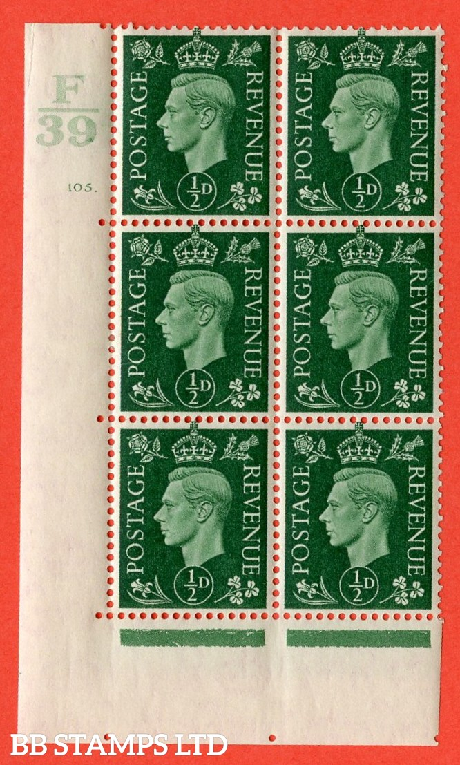"SG. 462. Q1. ½d Green. A very fine lightly mounted mint "" Control F39 cylinder 105 dot "" block of 6 with perf type 5 E/I with marginal rule."