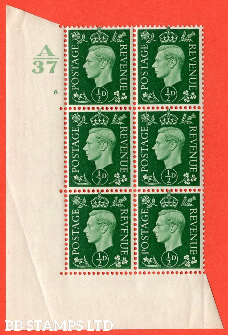 "SG. 462. Q1. ½d Green. A superb UNMOUNTED MINT "" Control A37 cylinder 8 no dot "" block of 6 with perf type 5 E/I with marginal rule."