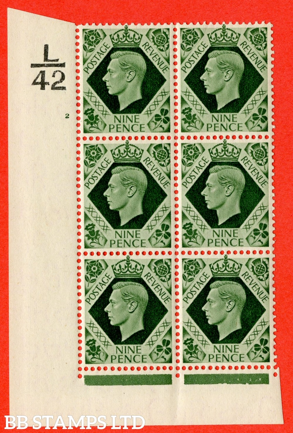 "SG. 473 b. Q25. 9d Olive-Green. A fine lightly mounted mint "" Control L42 cylinder 2 no dot "" control block of 6 with perf type 2 I/E  with listed variety "" Serif touched out "" row 18/1."