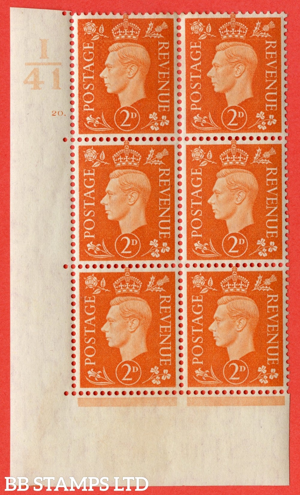 "SG. 465. Q10. 2d Orange. A very fine lightly mounted mint "" Control I41 cylinder 20 no dot "" control block of 6 with perf type 5 E/I."