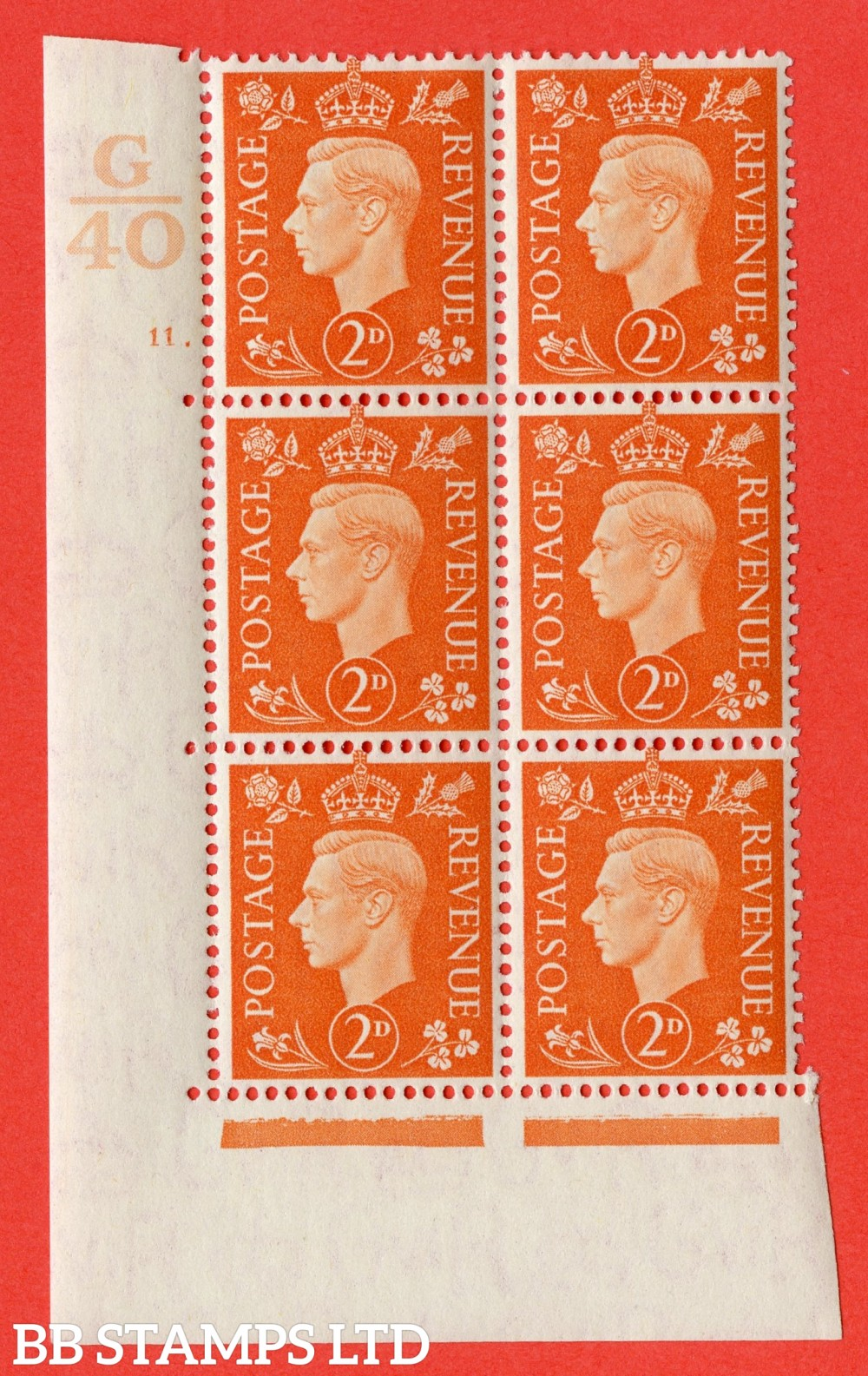 "SG. 465. Q10. 2d Orange. A superb UNMOUNTED MINT "" Control G40 cylinder 11 dot "" control block of 6 with perf type 5 E/I."