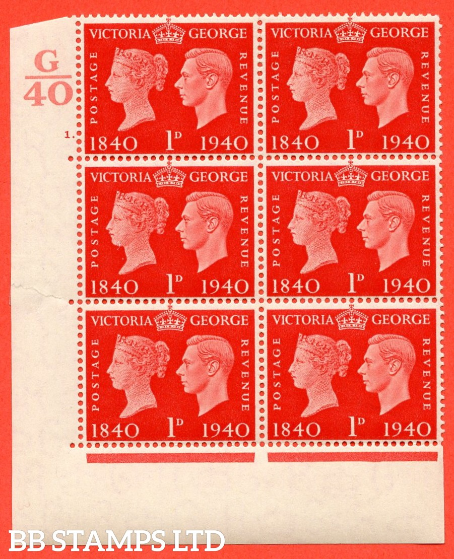 """SG. 480. QCom3. 1d Scarlet. A very fine lightly mounted mint """" Control G40 cylinder 1 dot """" block of 6 with perf type 5 E/I"""