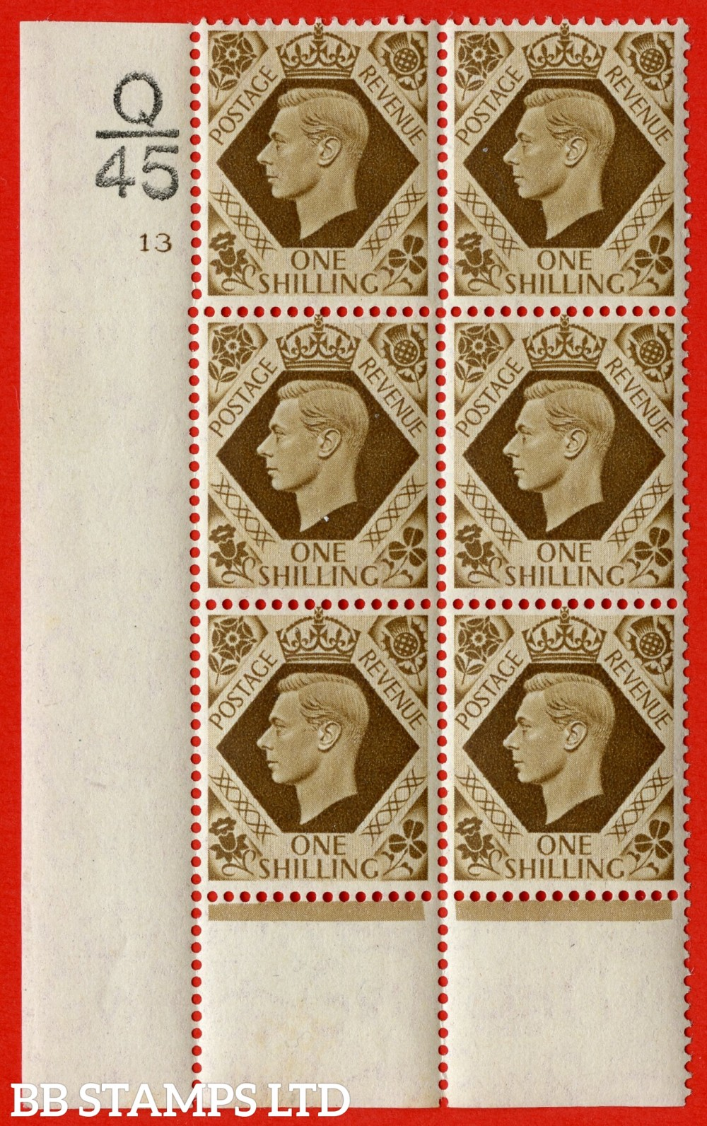 "SG. 475. Q28. a. 1/- Bistre-Brown. A fine lightly mounted mint "" Control O45 cylinder 13 no dot "" control block of 6 with perf type 6 I/P."