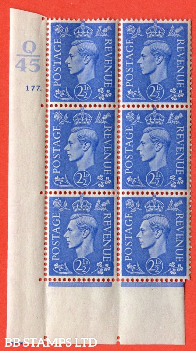 "SG. 489. Q14. 2½d Light ultramarine. A superb UNMOUNTED MINT ""  Control Q45 cylinder 177 dot "" control block of 6 with perf type 5 E/I. Creased."